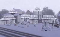 雪の中のストーンスロー温室