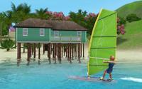 ジーナ、ウィンドサーフィンボードで移動中