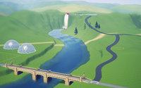 橋から滝方面を見た風景