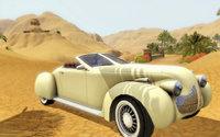 砂漠をオープンカーで走る