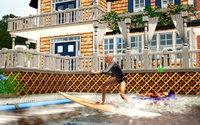 砂州の海小屋にてサーフィンするレックス