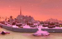 ピンクに染まる軍艦島 冬バージョン